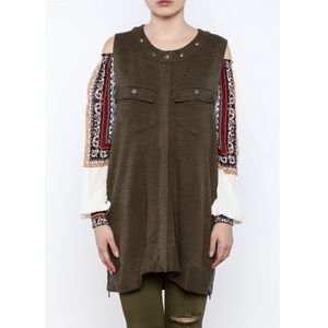 Free People Military Green Knit Highway Vest